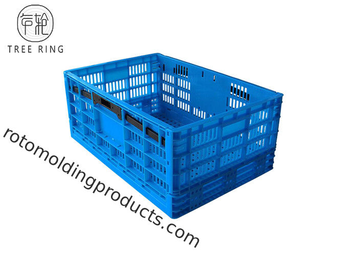 Foldable Collapsible Plastic Crate For Food Industry , Fruit And Vegetable Crates