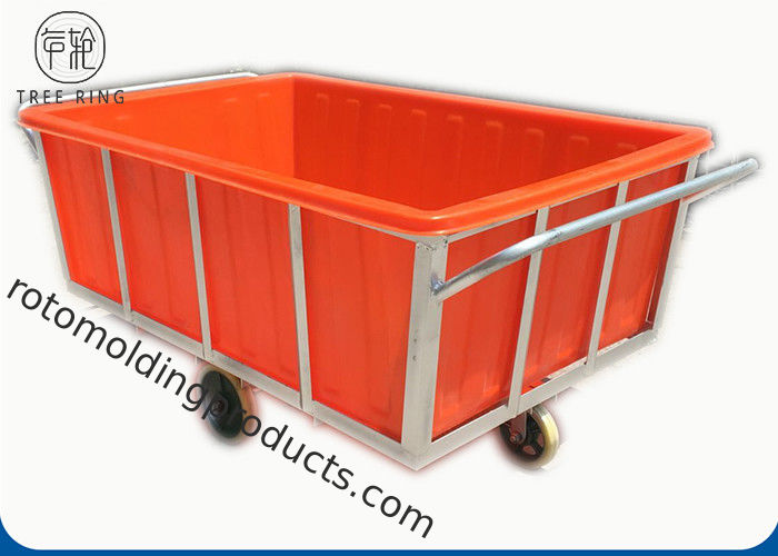 K1200L Rectangular Commercial Plastic Laundry Trolley On Wheels For Industry Moist Linen