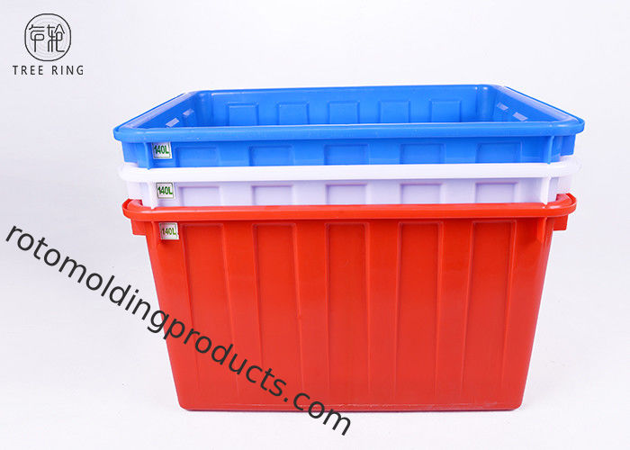 W140 Textile Plastic Bin Boxes , Blue /  Red Industrial Stacking Large Plastic Tubs